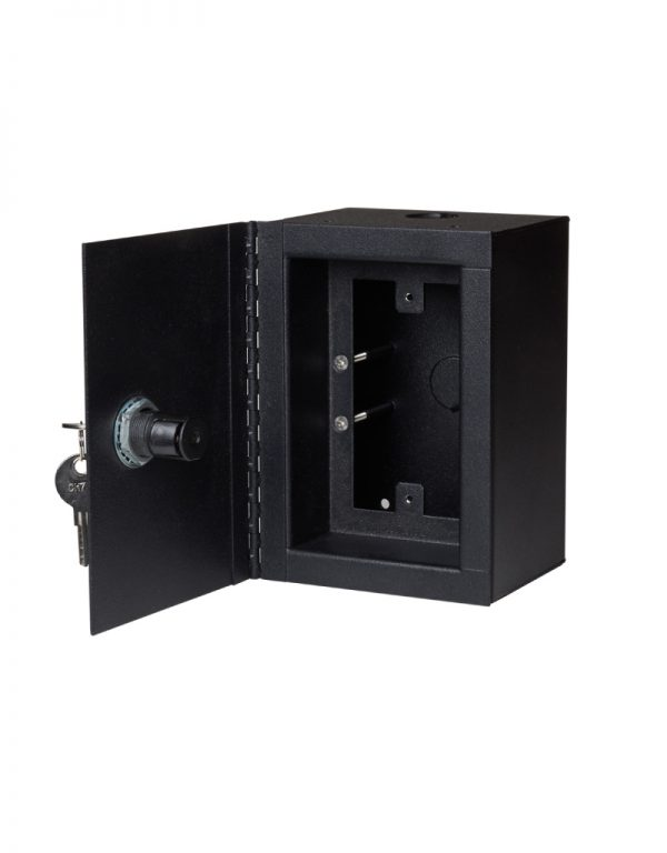 Surface mount low voltage case with locking door.