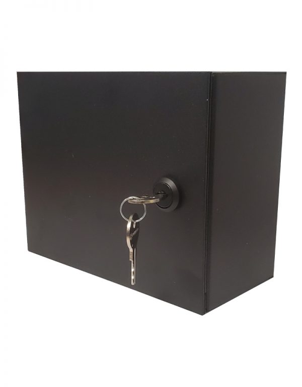 Surface mount dual gang low voltage case - with locking door. Side View