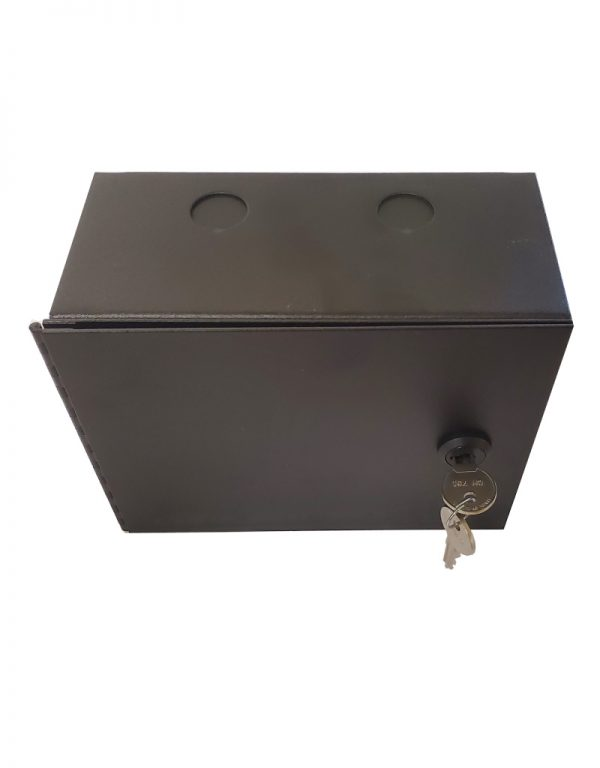 Surface mount dual gang low voltage case - with locking door. Top View